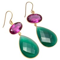 Pink Tourmaline & Green Onyx Gemstone earring