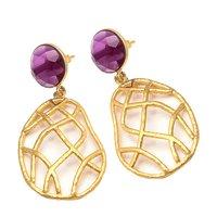 Pink Tourmaline Hydro Gemstone earring