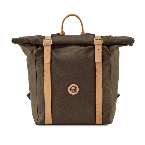 Leather Strap Canvas Brown Bag