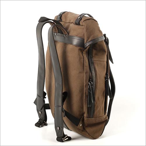 Leather Strap Plain Canvas Bag