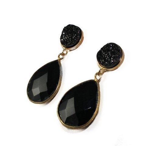 Black Onyx & Black Druzy Gemstone Earrings