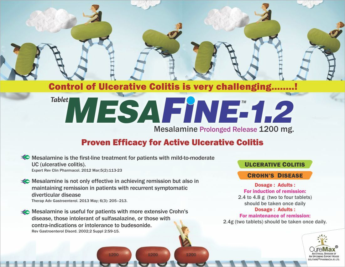 Mesalamine 1200 mg (Enteric Coated Prolonged Release Tablet)