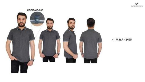 Blackberry Milange Grey PC Polo T shirts with Tipping