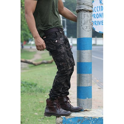 Cotton Printed Army Cargo Jogger Pants