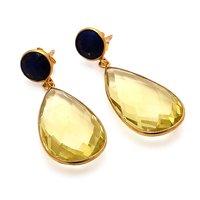 Lemon Topaz & Black Onyx Gemstone Earrings