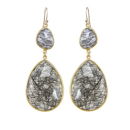 Black Rutile Gemstone Earrings