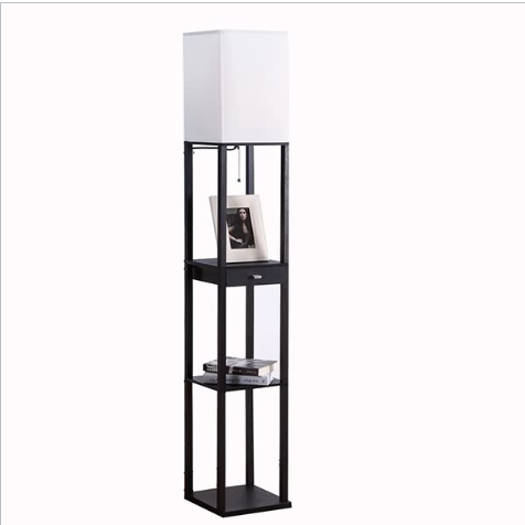 Black Floor Lamp, Floor Lamp With Shelf | Goodly Light-Gl-Flws004