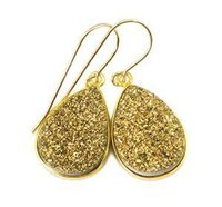 Gold Druzy Gemstone Earrings