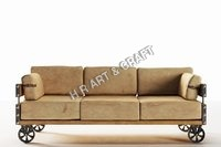 Modern Industrial Sofa With Upholstery