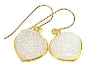 White Druzy Gemstone Earrings