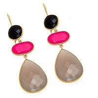 Gray Fuchsia & Black Onyx Gemstone Earrings