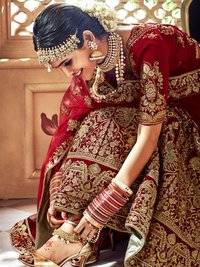 Heavy Embroidered Velvet Bridal Lehenga