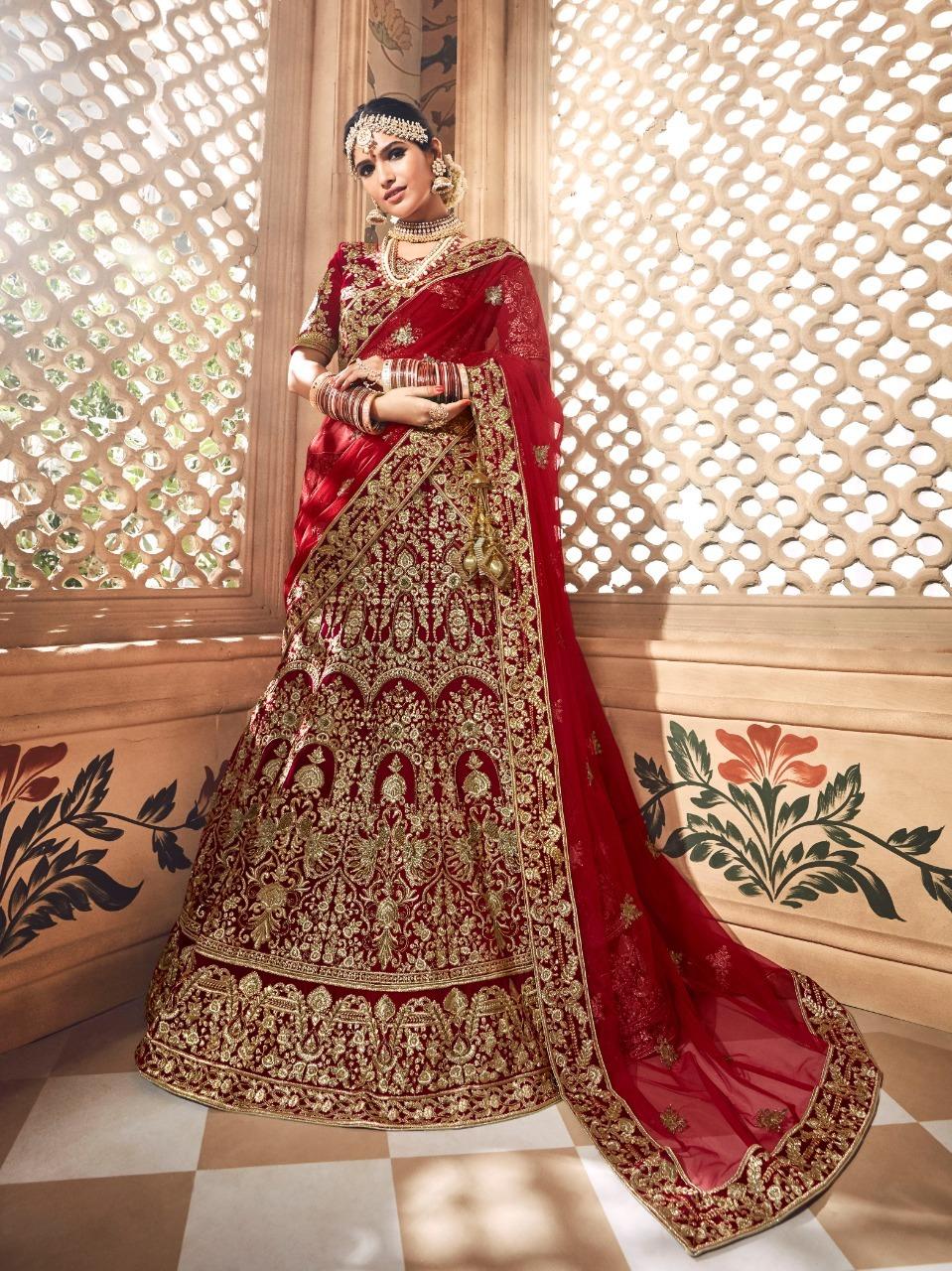 Heavy Embroidered Velvet Bridal Lehenga