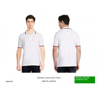 UCB BENETTON COLLAR TIPPING WHITE T-SHIRT