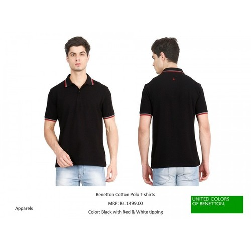 UCB BENETTON COLLAR TIPPING BLACK T-SHIRT