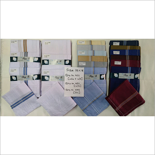 White Border Mens Handkerchief