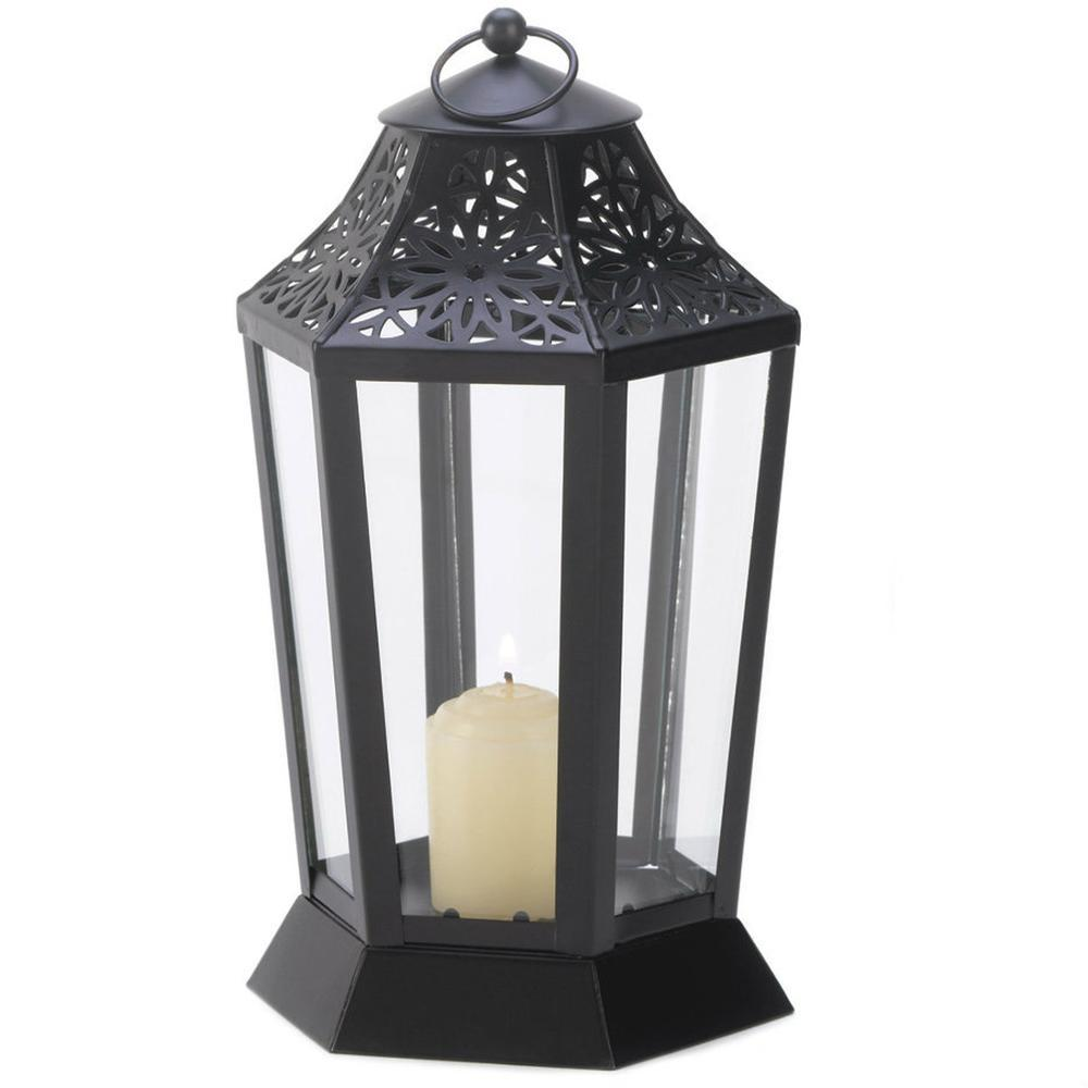 Standing Metal And Glass Lantern Candle Holder