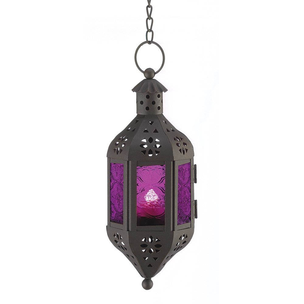 Hanging Moroccan Style Candle Lantern with Chain