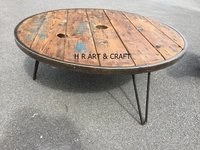 Classic Reclaimed Wood Round Shape Coffee Table