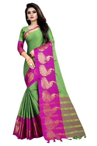 Designer Peacock Design Cotton Saree