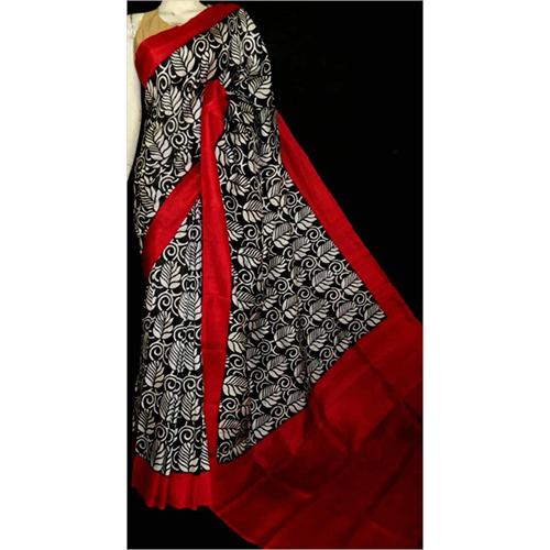 Red and Black Printed Saree