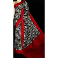 Red and Black Printed Saree