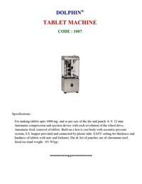 Tablet Making Machine