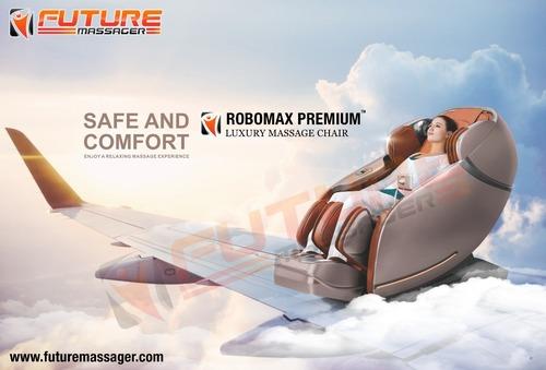 Full Body 3D Luxury Zero Gravity Massage Chair with Bluetooth speaker, Touch Screen LED & Charging slot Robomax Premium (Orange)