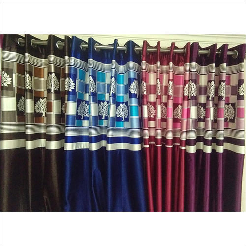 Long Crush Print Patch Curtains