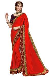 Satin Embroidery Saree