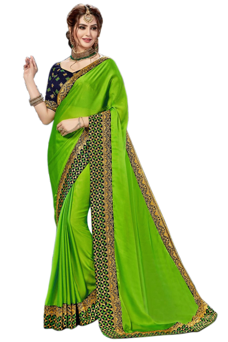 Satin Embroidered lace border Solid Saree
