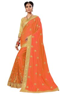 Lace Border Embroidered saree