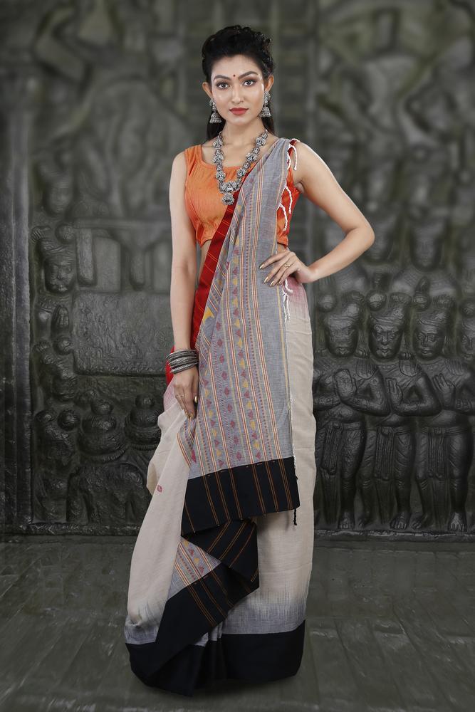 Bengal Handloom Cream Colour Pure Hand Span Cotton Saree