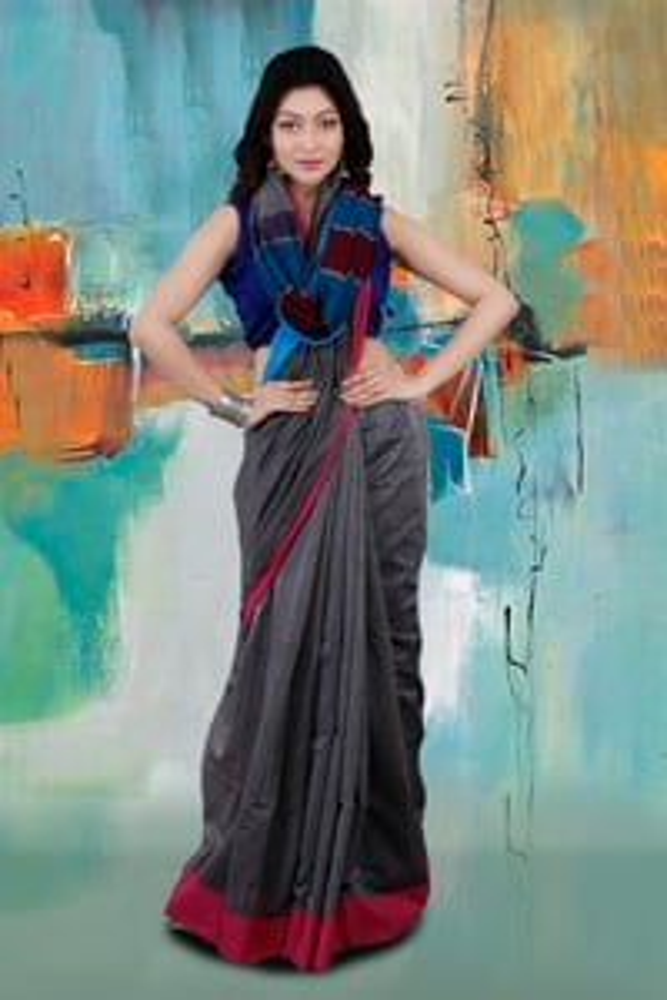Bengal Handloom Grey Colour Hand Woven Pure Cotton Saree