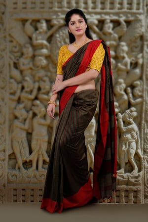 Metalic Golden Body With Red Border Hand Woven Pure Cotton Saree