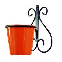 Wall Mount Metal Planter Stand with Round Bucket Planter