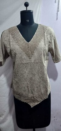 Women Cotton Makdi Jaal Short Kurti