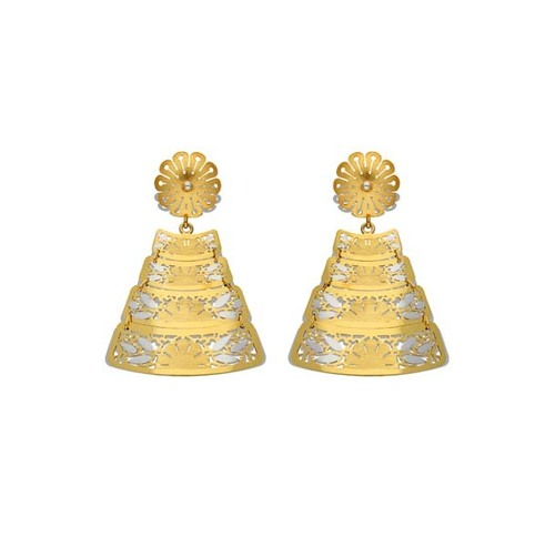Triangle Italian Gold Hanging Earring