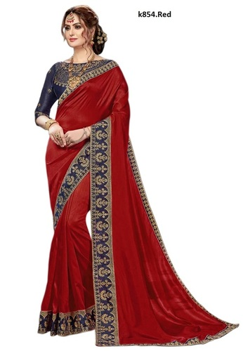 embroidered lace border satin saree Collection