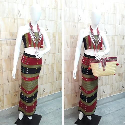 Handwoven Cotton Pencil  Skirt