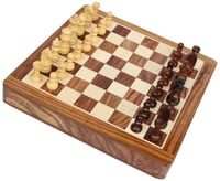 Square Chess Board & Chessmen Set with Storage Drawer