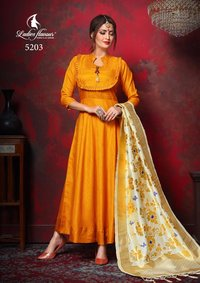 Silk Gown with jacquard Dupatta