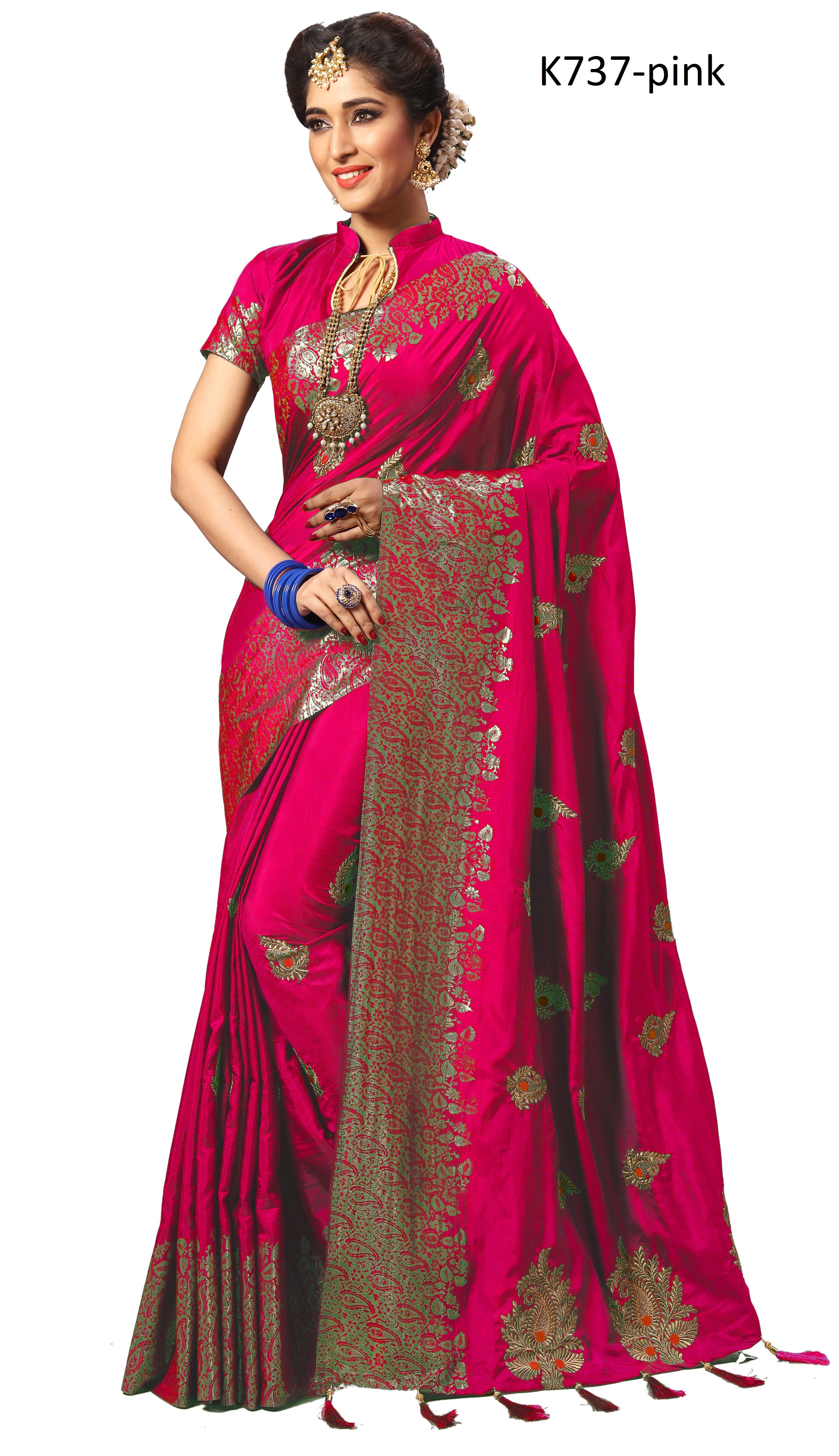 Traditional embroidered silk saree collection