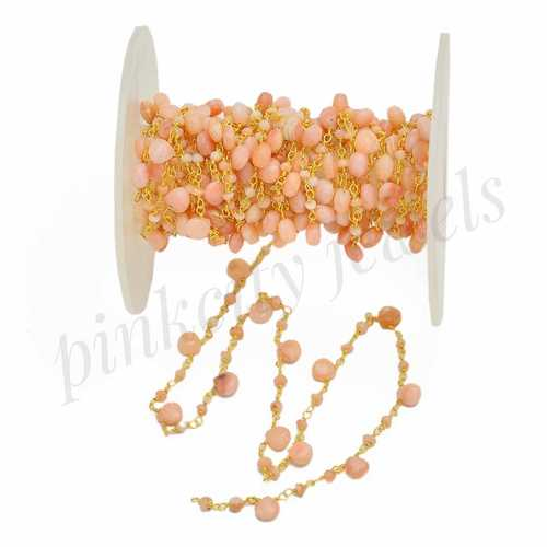 Pink Opal Gemstone Beaded Rosary Sterling Silver Chain