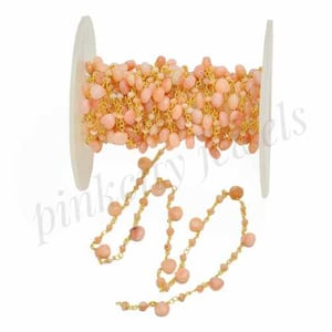 Pink Opal Beaded Rosary Silver Chain