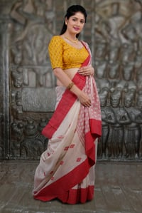 White and Red Hand Woven Pure Cotton Saree
