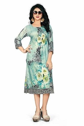 Fancy Designer Muslin Kurti Blue color