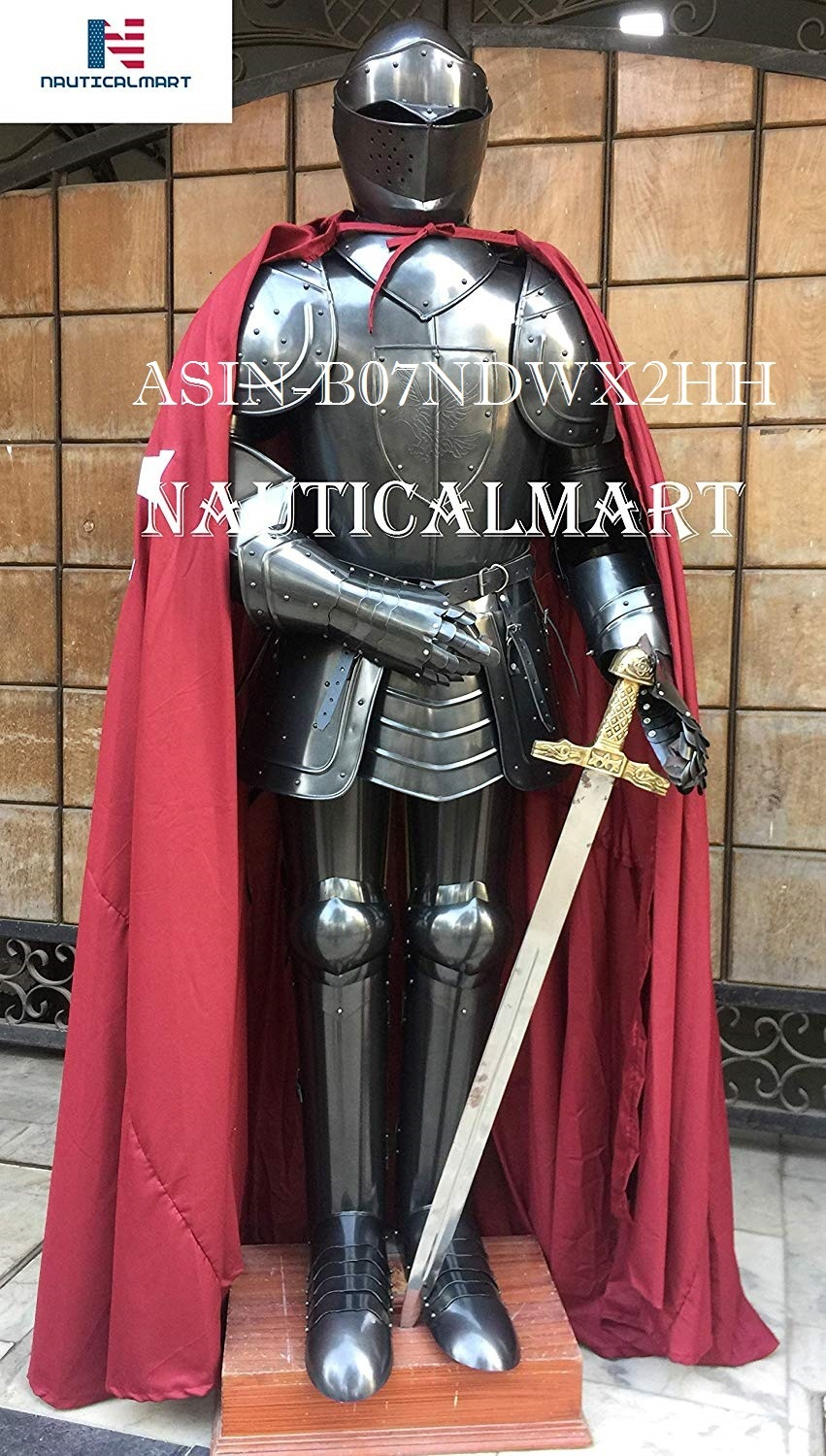 NAUTICALMART Black Knight Medieval Suit of Armor with Sword, Cloak