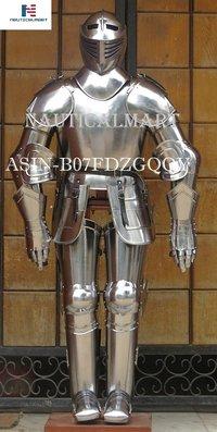 NAUTICALMART Medieval Knight Suit of Armor Combat Full Body Armor Suit IOTC Armoury