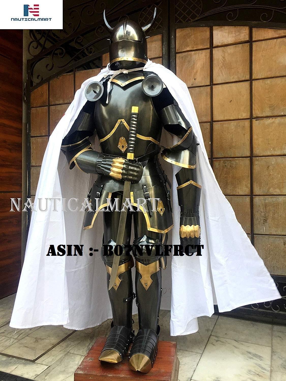 NauticalMart Medieval Knight Gothic Full Suit of Armor Horns 15th Century Body Armour